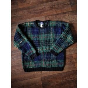 Woolrich Vintage Green Plaid Wool Chunky Sweater M